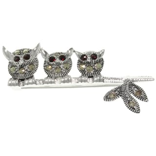 Carolina Glamour Collection Silver CZ and Marcasite Three Wise Owls Brooch