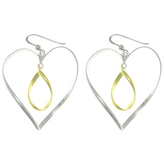 Carolina Glamour Collection 14k Gold over Silver Heart and Oval Earrings