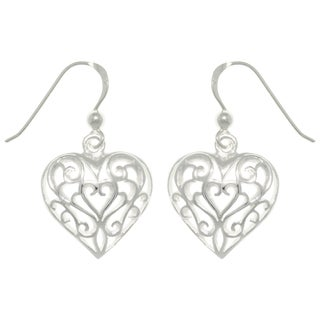 Carolina Glamour Collection Silver Filigree Heart Dangle Earrings