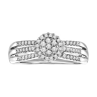 Cambridge Sterling Silver 1/3ct TDW Diamond Three-Row Halo Ring