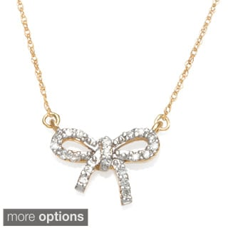 10k White or Yellow Gold 1/10ct TDW Diamond Bow Necklace