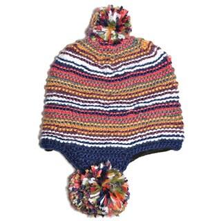 Tripple Dangle Pompom Acrylic Hand-knit Hat (Nepal)