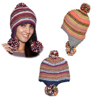 Tripple Dangle Pompom Acrylic Hand-knit Hat (Nepal)