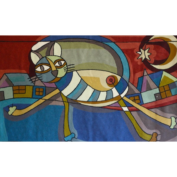 Handmade Dundee Design Embroidered Cat Tapestry (India)