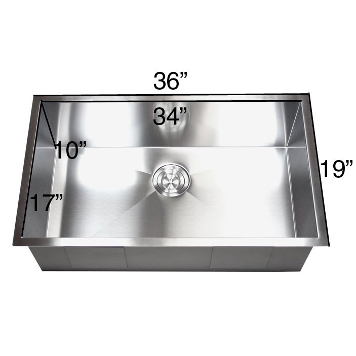 36 Inch Stainless Steel Single Bowl Undermount Zero Radius Kitchen Sink 16 Gauge