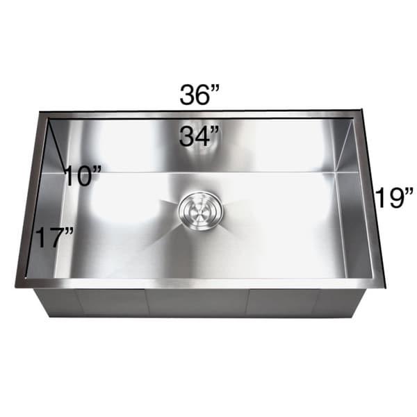 Great 36 Inch Stainless Steel Single Bowl Undermount Zero Radius Kitchen Sink 16  Gauge   Free Shipping Today   Overstock.com   15716957