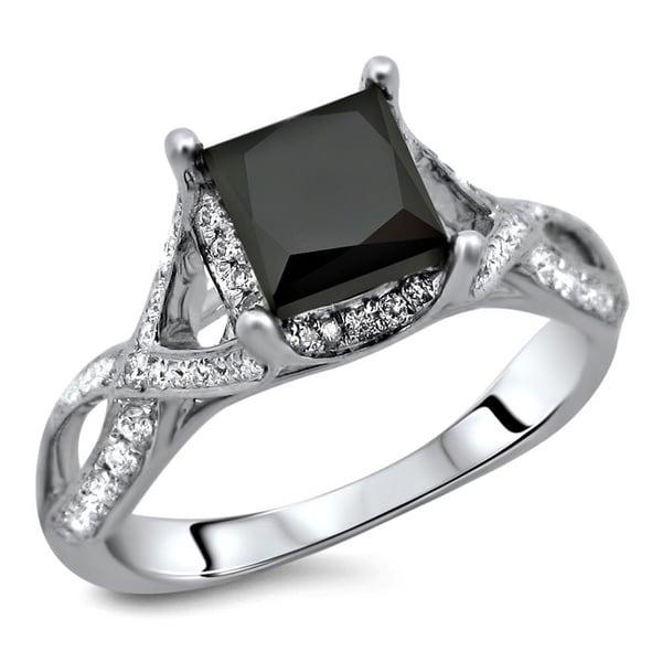 Noori 18k White Gold 2 1/3ct TDW Certified Black Diamond Ring (E-F, VS2)