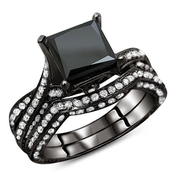 Noori 14k Black Gold 3 1/2ct TDW Black Diamond Bridal Ring Set