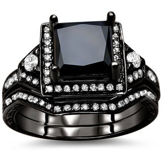 Noori 14k Black Gold 2ct TDW Black and White Diamond Bridal Set