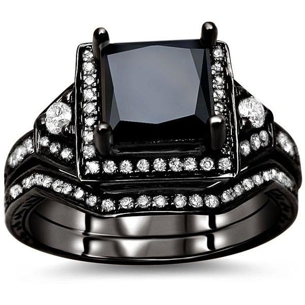 Noori 14k Black Gold 2ct TDW Certified Black and White Diamond Bridal Set (G-H, SI1)