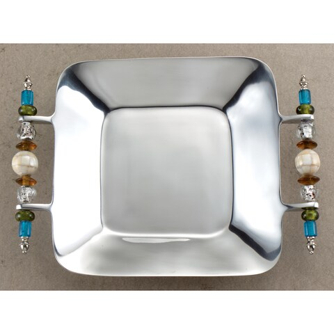 Multi-colored Beaded Square Serving Tray