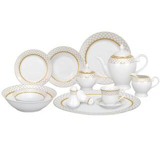 Lorren Home Trends 57-piece Porcelain Gold Accent Dinnerware Set