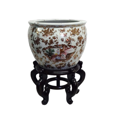Butterfly Medallion Famille Porcelain Fishbowl/ Stand