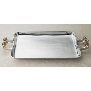 Amber Beaded Aluminum Serving Tray