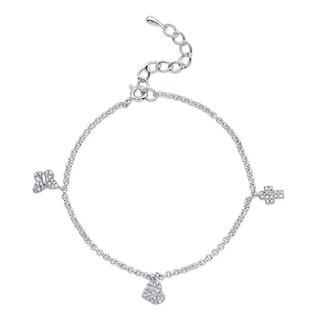 Victoria Kay Silver 1/4ct TDW Diamond Heart, Butterfly and Cross Bracelet (J-K, I2-I3)