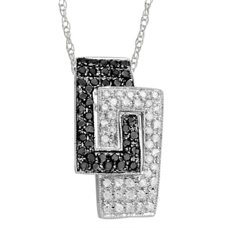 14k Gold 3/8ct TDW Black and White Diamond Geometric Necklace (H-I, I3)