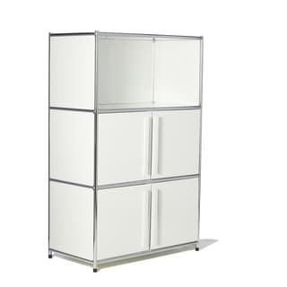 Modern Metal Bookcase with one open shelf and two door compartments by System4 Simpli