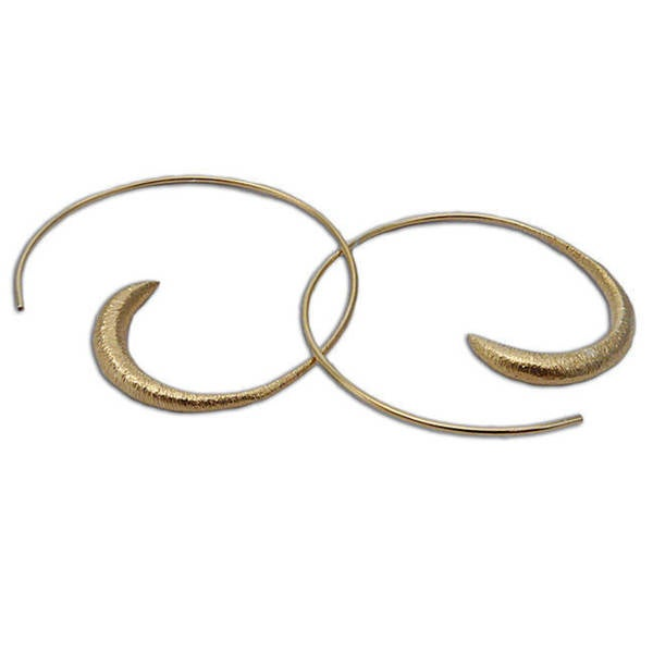 Handmade Brushed Matte Gold Vermeil Spiral Hoop Earrings India