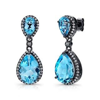 Black-plated Silver Blue Topaz and 1/2ct TDW Diamond Earrings (J-K, I2-I3)