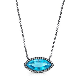 Black-plated Silver Blue Topaz and 1/6ct TDW Diamond Necklace (J-K, I2-I3)