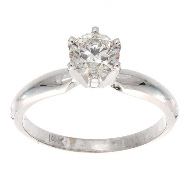 Victoria Kay 14k Gold 3/4ct TDW Certified Diamond Solitaire Engagement Ring (G-H, I1-I2)