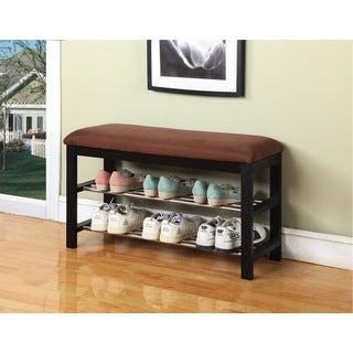 Chocolate Microfiber Black Frame Shoe Rack Bench