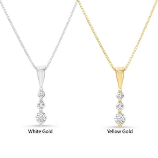 Victoria Kay 14k Gold 1/10ct TDW Diamond Journey Necklace (H-I, I2-I3)