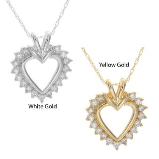 Victoria Kay 10k White or Yellow Gold Diamond Heart Necklace (H-I, I2)