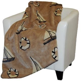 Denali Tan Sailboats Throw Blanket