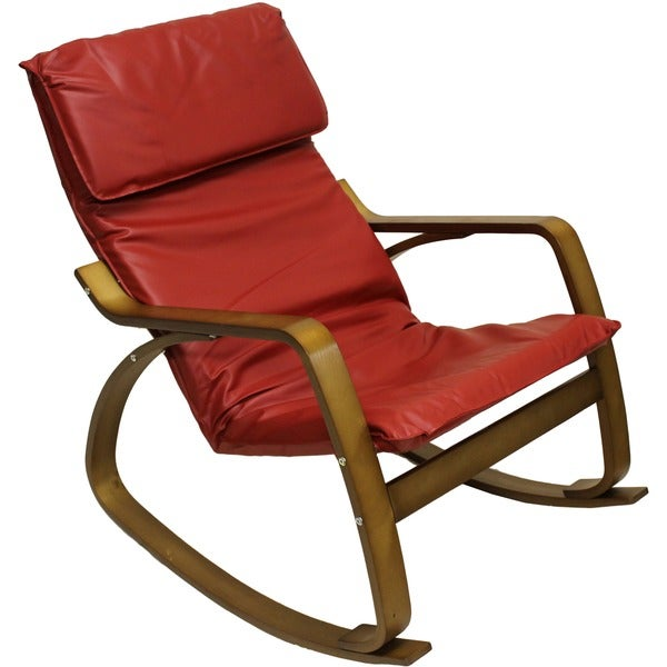 Stockholm Bentwood Faux Leather Rocking Chair Free Shipping Today Oversto