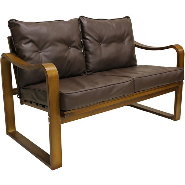 Stockholm Bentwood Faux Leather Slatted Back Settee Bench With Seat And Cushions Free Shipping Today 8418904