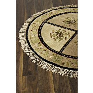 Hand-knotted Opulence Cream Wool Rug (3'6 Round)