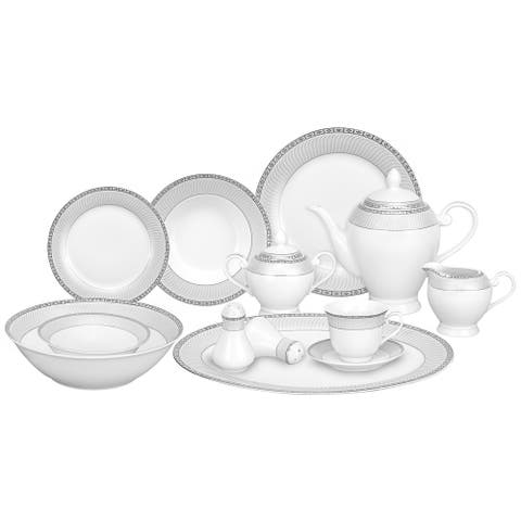 Lorren Home Trends 57-piece Porcelain Silver Accent Dinnerware Set