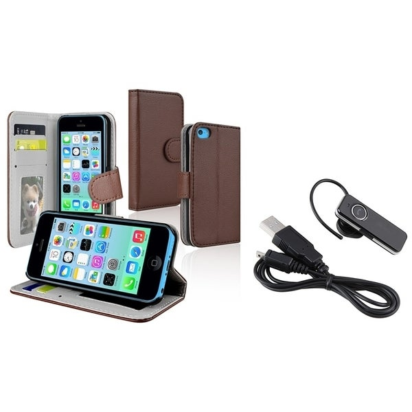BasAcc Brown Wallet-Style Case/ Wireless Headset for Apple iPhone 5C