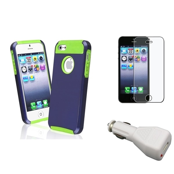 INSTEN Phone Case Cover/ Screen Protector/ Car Charger Adapter for Apple iPhone 5/ 5S