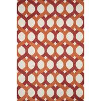 "Hand-tufted Red/ Orange Contemporary Trellis Wool Area Rug - 5' x 7'6"""