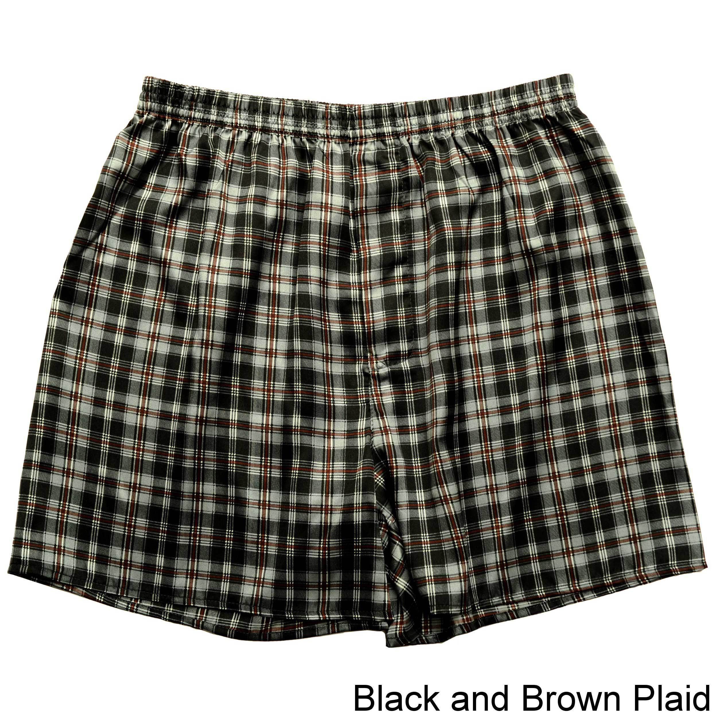 Mens 2-Pack Boxer Briefs Polyester Underwear Trunk Underwear with Green Brown Plaid Design