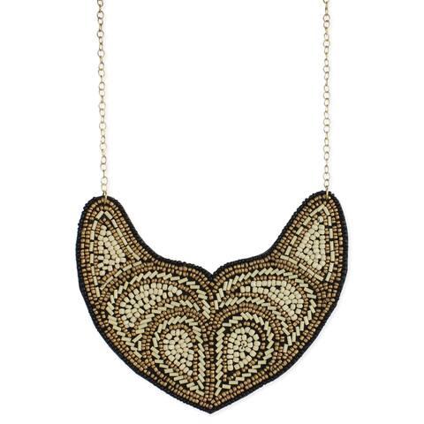 Handmade Bronze and Cream Seed Bead Bib Necklace (India) - Antique White