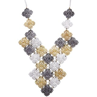 Handmade Mixed Metals Filagree Cubes Layers Necklace (India) - Gold