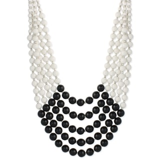 Handmade Five Row Black and White Bead Necklace (India)