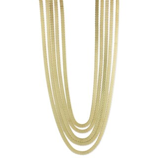 Handmade Long Goldtone Mesh Layered Necklace (India) (Option: Gold)