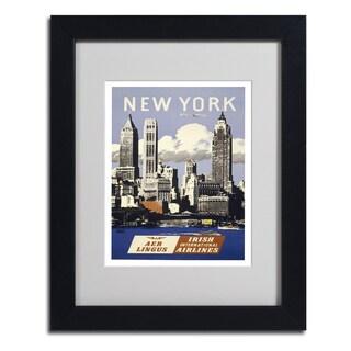 Vintage Apple Collection 'Trav NY Aer Lingus' Framed Matted Art