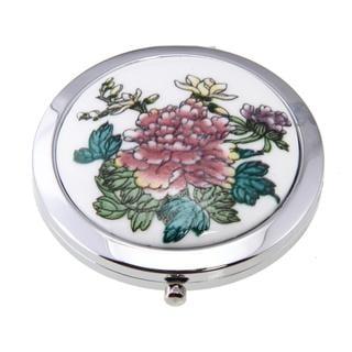 Handmade Porcelain Peony Flower Cosmetic Mirror (China)