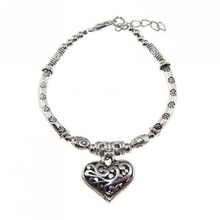 Handmade Tibetan Silver Bracelet and Heart Charm (China)