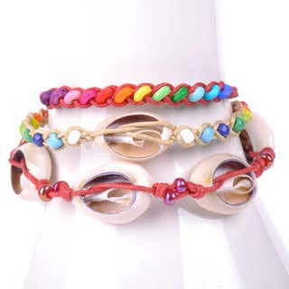 Thai-handicraft Set of 3 Multicolored Wood Beads and Sea Shells Waxcord Bracelets (Thailand)