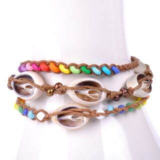 Thai-handicraft Set of 3 Multicolored Wood Beads and Sea Shells Wax cord Bracelets (Thailand)
