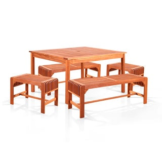 Benza Dining Set with Square Table, 2 Backless Benches and 2 Backless Chairs