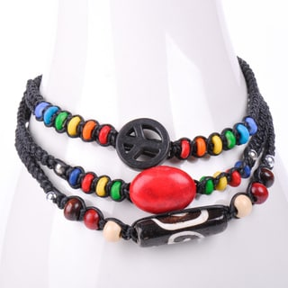 Thai-handicraft Red Coral and Multicolored Wooden Beads Wax Cord Bracelets (Thailand)