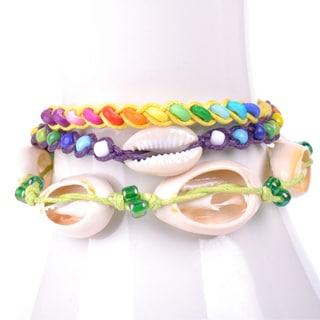 Thai-handicraft Multicolored Wood Beads and Sea Shells Wax Cord Bracelets (Thailand)