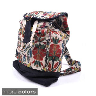 Handcrafted Cotton Floral Print Backpack (Thailand)